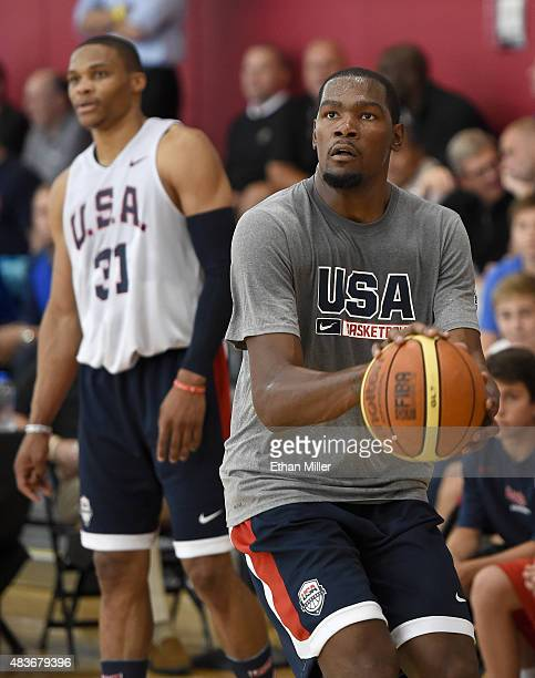 Kevin Durant and Russell Westbrook of the 2015 USA Basketball Men's National Team attend a practice session at the Mendenhall Center on August 11...
