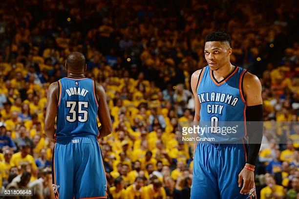 Kevin Durant and Russell Westbrook of the Oklahoma City Thunder during Game One of the Western Conference Finals during the 2016 NBA Playoffs against...
