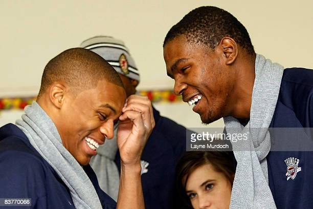Kevin Durant and Russell Westbrook of the Oklahoma City Thunder participate in the Oklahoma City Thunder Holiday Assist charitable events and...