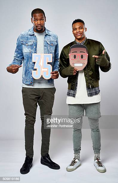 Kevin Durant and Russell Westbrook of the Oklahoma City Thunder pose for a portrait with the twitter emojis during NBA AllStar Weekend on February 12...