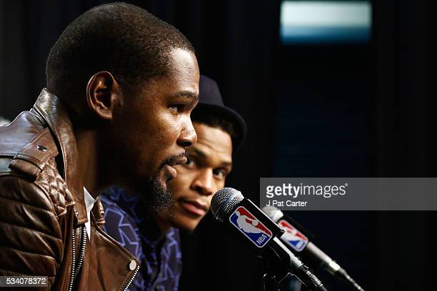 Kevin Durant and Russell Westbrook of the Oklahoma City Thunder speak to the media after their 118 to 94 win over the Golden State Warriors in game...