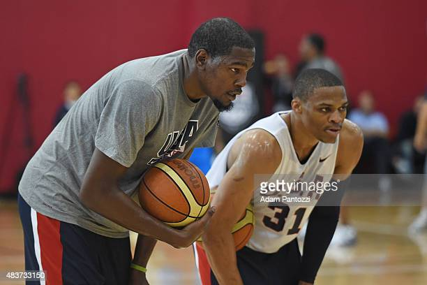 Kevin Durant and Russell Westbrook of the USA National Team participate in a minicamp at UNLV on August 11 2015 in Las Vegas Nevada NOTE TO USER User...