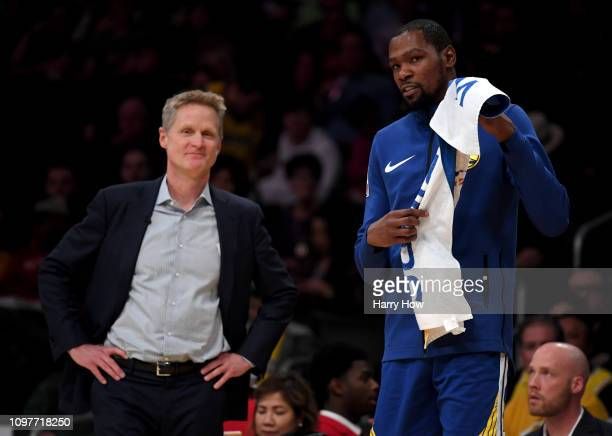 Kevin Durant and Steve Kerr of the Golden State Warriors smile courtside during a 130111 win over the Los Angeles Lakers at Staples Center on January...