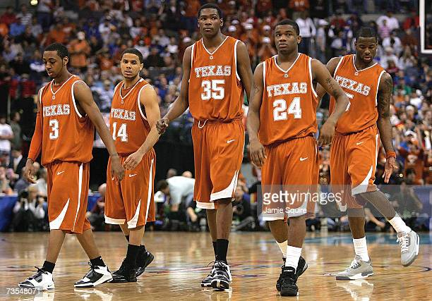 Kevin Durant and teammates of the the Texas Longhorns walk onto the court during the finals of the Phillips 66 Big 12 Men's Basketball Championship...