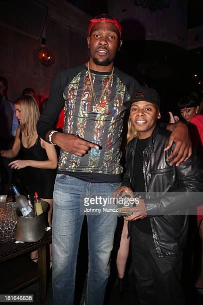 Kevin Durant and Tyran 'Ty Ty' Smith attend Kevin Durant's 25th Birthday Party at Avenue on September 22 2013 in New York City