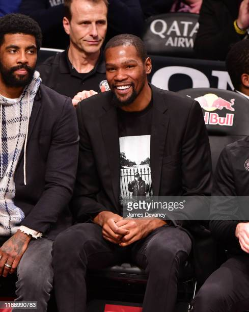 Kevin Durant attends Philadelphia 76ers v Brooklyn Nets game at Barclays Center on December 15 2019 in New York City