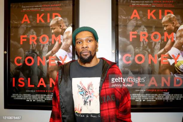 "Kevin Durant attends the premiere of ""A Kid From Coney Island"" at Brooklyn Academy of Music on March 05, 2020 in New York City."