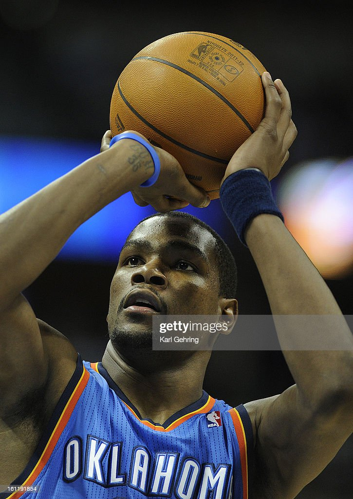 Kevin Durant eyed the rim during a free throw in the first half. The Denver Nuggets fell to the Oklahoma City Thunder 103-90 at the Pepsi Center, Thursday night, March 15, 2012. Karl Gehring/The Denver Post : News Photo