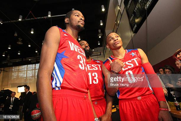 Kevin Durant James Harden and Russell Westbrook of the Western Conference AllStars take a photo before the 2013 NBA AllStar Game on February 17 2013...