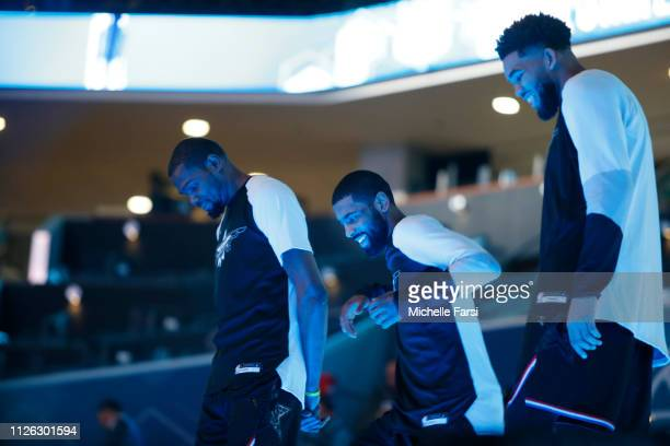 Kevin Durant Kyrie Irving and Karl AnthonyTowns of Team LeBron look on during the 2019 NBA AllStar Game on February 17 2019 at the Spectrum Center in...