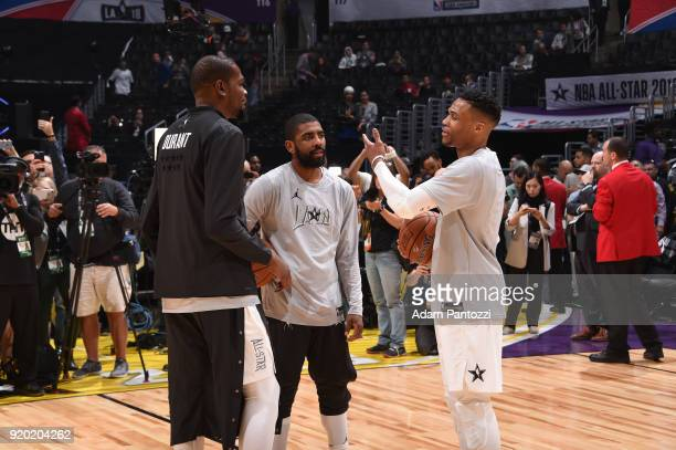 Kevin Durant Kyrie Irving and Russell Westbrook of Team LeBron before the game against Team Stephen during the NBA AllStar Game as a part of 2018 NBA...