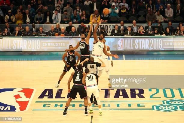 Kevin Durant of Team LeBron and Joel Embiid of Team Giannis tip off at the start of the game during the 2019 NBA AllStar Game on February 17 2019 at...
