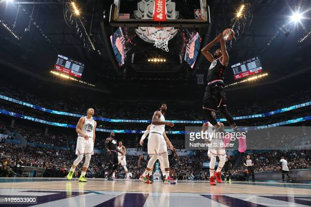 Kevin Durant of Team LeBron dunks the ball against Team Giannis during the 2019 NBA AllStar Game on February 17 2019 at the Spectrum Center in...