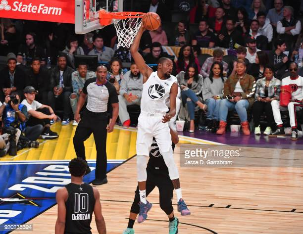 Kevin Durant of Team LeBron grabs the rebound against Team Curry during the NBA AllStar Game as a part of 2018 NBA AllStar Weekend at STAPLES Center...