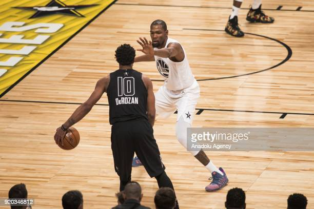 Kevin Durant of Team Lebron guards DeMar DeRozan of Team Stephen in the fourth quarter during the 2018 NBA AllStar Game at the Staples Center in Los...