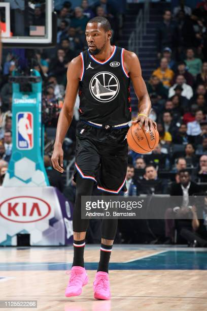 Kevin Durant of Team LeBron handles the ball against Team Giannis during the 2019 NBA AllStar Game on February 17 2019 at the Spectrum Center in...
