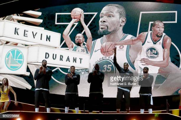 Kevin Durant of Team LeBron is introduced before the NBA AllStar Game as a part of 2018 NBA AllStar Weekend at STAPLES Center on February 18 2018 in...