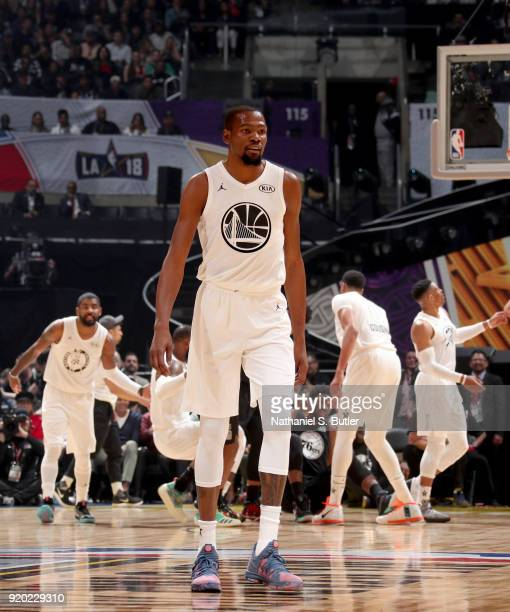 Kevin Durant of Team LeBron looks on against Team Stephen during the NBA AllStar Game as a part of 2018 NBA AllStar Weekend at STAPLES Center on...