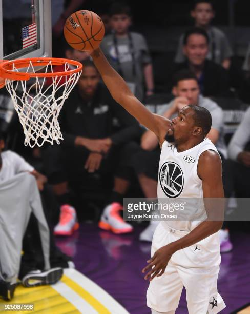 Kevin Durant of Team LeBron makes a layup during the NBA AllStar Game 2018 at Staples Center on February 18 2018 in Los Angeles California
