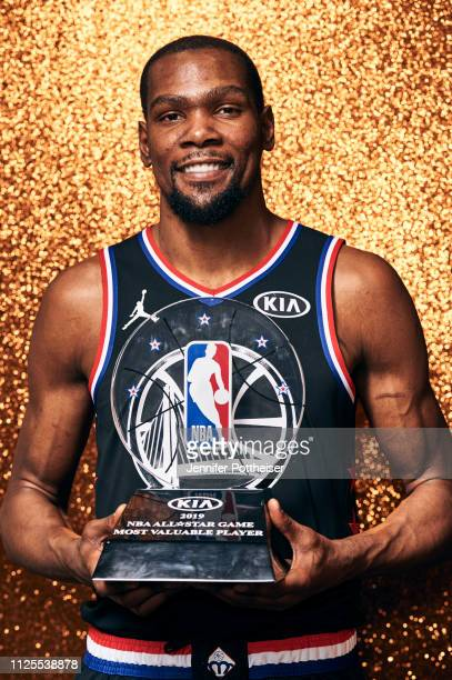 Kevin Durant of Team LeBron poses with the MVP trophy after the 2019 NBA AllStar game on February 17 2019 at the Spectrum Center in Charlotte North...