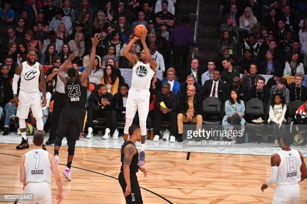 Kevin Durant of Team LeBron shoots the ball against Team Curry during the NBA AllStar Game as a part of 2018 NBA AllStar Weekend at STAPLES Center on...