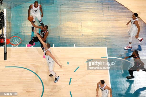 Kevin Durant of Team LeBron shoots the ball against Team Giannis during the 2019 NBA AllStar Game on February 17 2019 at the Spectrum Center in...