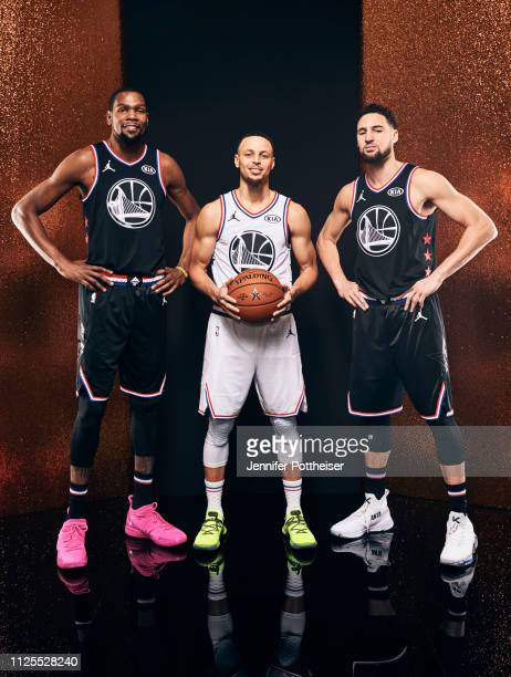 Kevin Durant of Team LeBron Stephen Curry of Team Giannis and Klay Thompson of Team LeBron poses for a portrait before the 2019 NBA AllStar game on...
