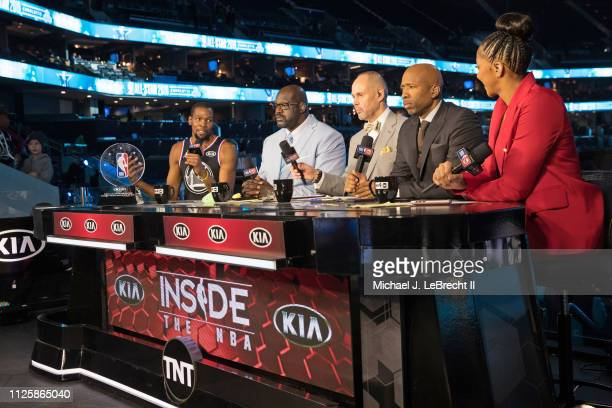 Kevin Durant of Team LeBron talks to Shaquille O'Neal Ernie Johnson Kenny Smith and Candance Parker with the All Star Game MVP Trophy after the 2019...