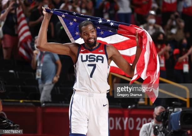 Kevin Durant of Team United States celebrates the United States' victory over France in the Men's Basketball Finals game on day fifteen of the Tokyo...