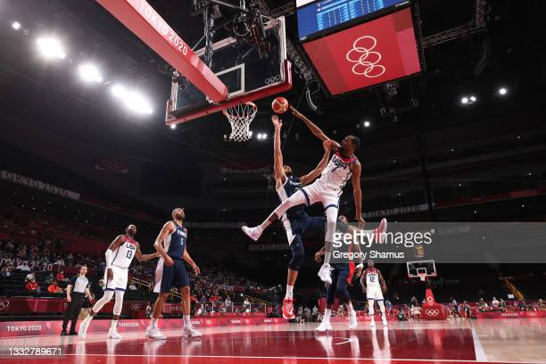 Kevin Durant of Team United States goes up for a dunk against Rudy Gobert of Team France during the second half of a Men's Basketball Finals game on...