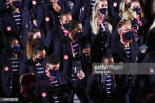 Kevin Durant of Team United States looks on during the Opening Ceremony of the Tokyo 2020 Olympic Games at Olympic Stadium on July 23, 2021 in Tokyo,...