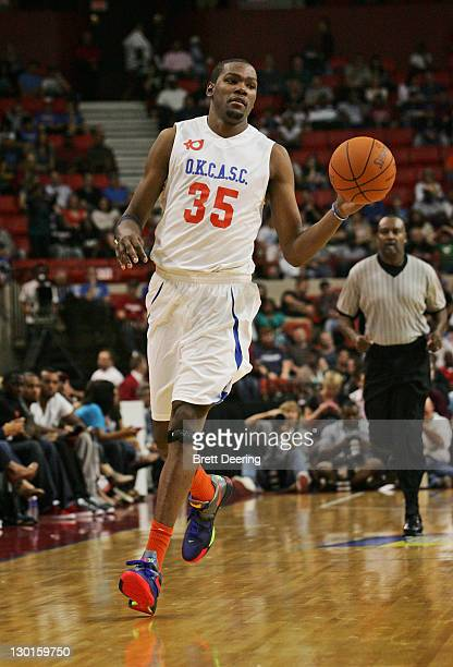 Kevin Durant of Team White brings the ball down court during the US Fleet Tracking Basketball Invitational charity basketball game October 23 2011 at...