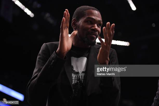 Kevin Durant of the Brooklyn Nets during the game against the Philadelphia 76ers at Barclays Center on December 15 2019 in New York City NOTE TO USER...