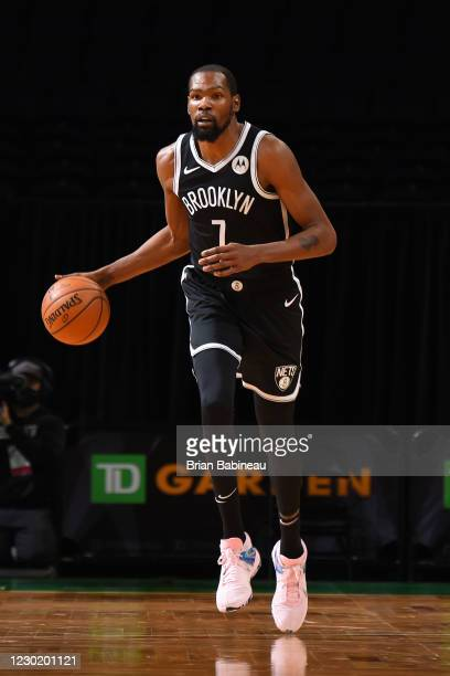 Kevin Durant of the Brooklyn Nets handles the ball against the Boston Celtics during a preseason game on December 18, 2020 at the TD Garden in...