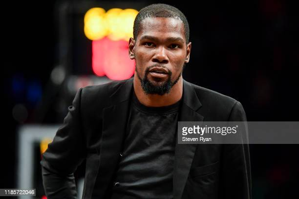 Kevin Durant of the Brooklyn Nets looks on against the Houston Rockets at Barclays Center on November 01, 2019 in New York City. NOTE TO USER: User...