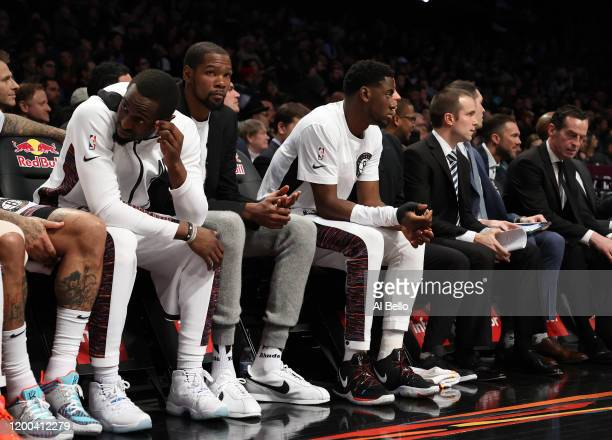 Kevin Durant of the Brooklyn Nets looks on against the Milwaukee Bucks during their game at Barclays Center on January 18 2020 in New York City NOTE...