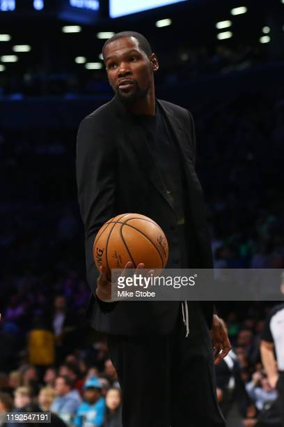 Kevin Durant of the Brooklyn Nets looks on during the game against the Oklahoma City Thunder at Barclays Center on January 07 2020 in New York City...