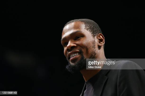 Kevin Durant of the Brooklyn Nets looks on during the game against the Los Angeles Lakers at Barclays Center on January 23 2020 in New York City NOTE...