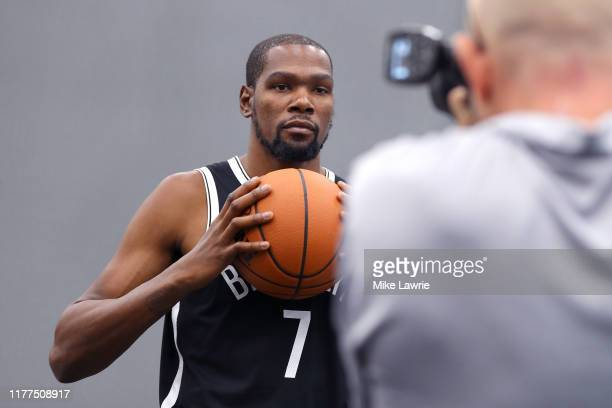 Kevin Durant of the Brooklyn Nets poses during Brooklyn Nets Media Day at HSS Training Center on September 27 2019 in the Brooklyn Borough of New...