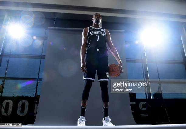 Kevin Durant of the Brooklyn Nets poses for a photograph during Media Day at HSS Training Center on September 27 2019 in the Brooklyn borough of New...