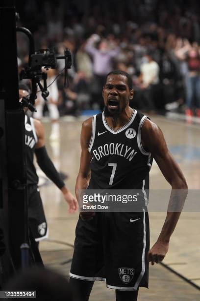 Kevin Durant of the Brooklyn Nets reacts during Round 2, Game 7 on June 19, 2021 at Barclays Center in Brooklyn, New York. NOTE TO USER: User...