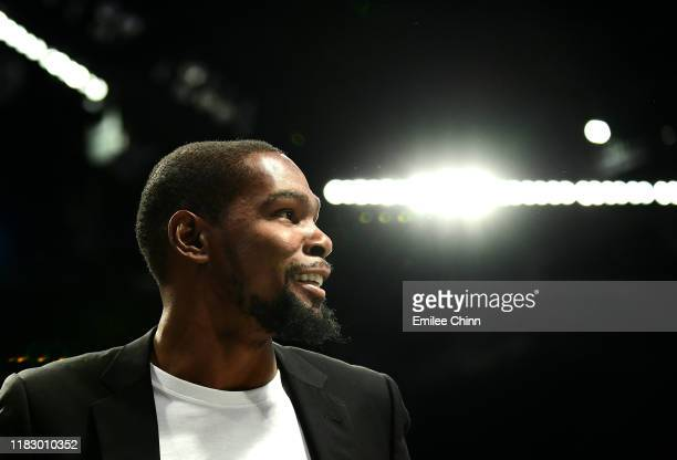 Kevin Durant of the Brooklyn Nets reacts during the second half of their game against the Minnesota Timberwolves at Barclays Center on October 23,...