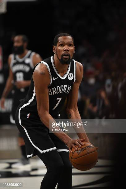 Kevin Durant of the Brooklyn Nets shoots a free throw during Round 2, Game 7 on June 19, 2021 at Barclays Center in Brooklyn, New York. NOTE TO USER:...