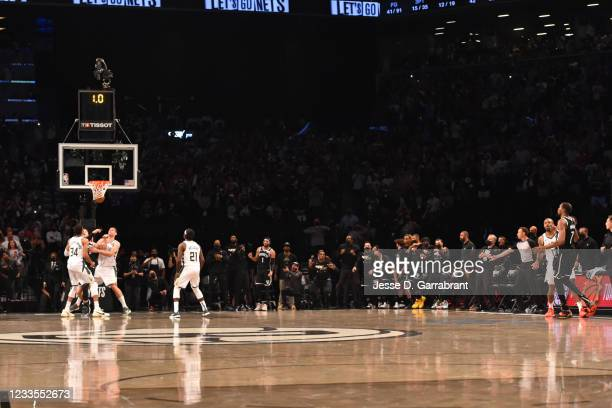 Kevin Durant of the Brooklyn Nets shoots the ball to send the game into overtime against the Milwaukee Bucks during Round 2, Game 7 on June 19, 2021...