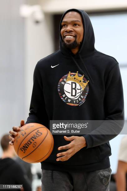 Kevin Durant of the Brooklyn Nets smiles during practice on October 1 2019 at HSS Training Center in Brooklyn New York NOTE TO USER User expressly...