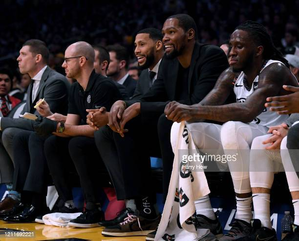 Kevin Durant of the Brooklyn Nets smiles during the first half against the Los Angeles Lakers at Staples Center on March 10 2020 in Los Angeles...