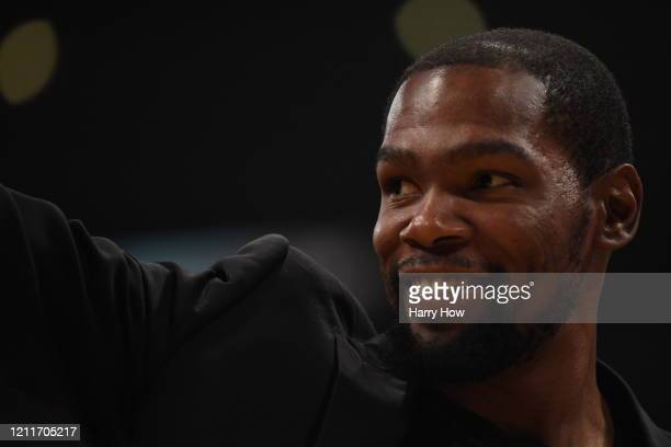 Kevin Durant of the Brooklyn Nets smiles during the second half against the Los Angeles Lakers at Staples Center on March 10 2020 in Los Angeles...