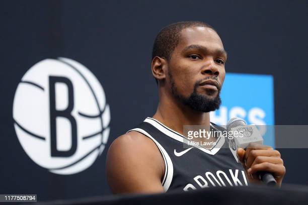 Kevin Durant of the Brooklyn Nets speaks to media during Brooklyn Nets Media Day at HSS Training Center on September 27 2019 in the Brooklyn Borough...