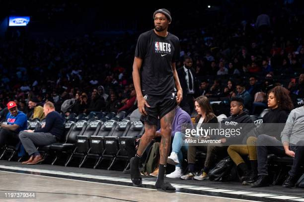 Kevin Durant of the Brooklyn Nets walks the sidelines during a timeout as the Long Island Nets take on the Capital City Go-Go during an NBA G League...