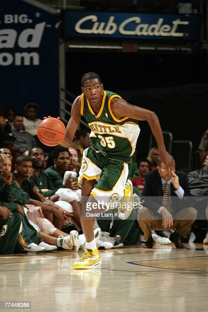Kevin Durant of the Cleveland Cavaliers drives the ball up court during a preseason game against the Seattle SuperSonics at The Quicken Loans Arena...